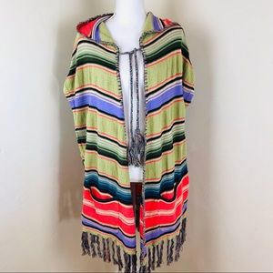 Anthropologie Moth Serape Poncho Hooded size Xs/s